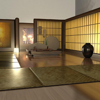 3ds max japanese tea house interior