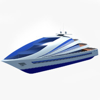 futuristic luxury yacht 3d model