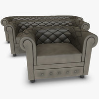3d realistic chester sofa set model