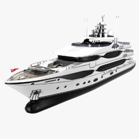 motor yacht cruising 43m 3d model