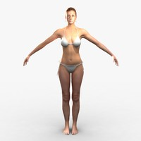cammie unrigged realistic female 3d model