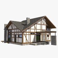 3d obj fachwerk house