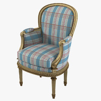 3d model of classic arm chair