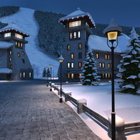 mountain town winter 3d model
