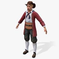 3d pirates moneylender real-time model