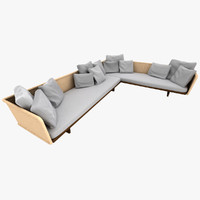 airy sofa leather wicker 3d model