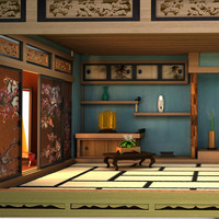 3d interior japanese room