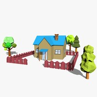 3d cartoon scene model