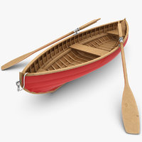 3d realistic rowboat model