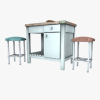 Kitchen Island with Stools and Plate(1)
