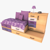 3d max modern drawer cabinet bed