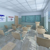 3d model classroom interior design