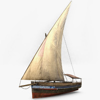 3d low-poly dhow fishing boat