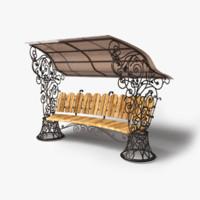 3d garden bench