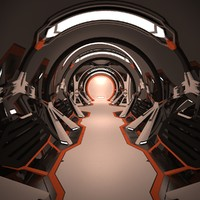 sci fi spaceship corridor interior 3d model