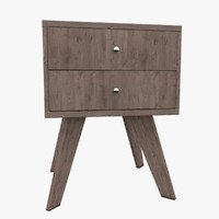 nightstand rubberwood wood 3ds