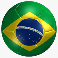 3d soccer ball brazil flag model
