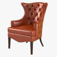 tufted wing chair 1231-18 3d max