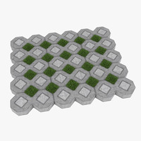 3d grass pavers model