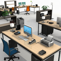 modern office set 3d model