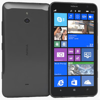 3d nokia lumia 1320 black model