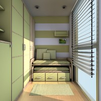 stylish teen room 3d c4d