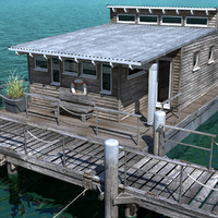 modeled floating house 3d model