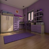cinema4d elegant teen room interior