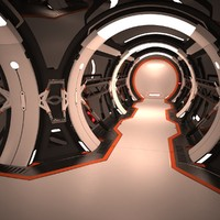 3d futuristic corridor interior model