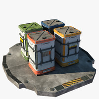 3d futuristic containers
