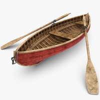 3d realistic rowboat dirty model