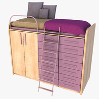 bed wardrobe set 3d max
