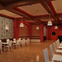 cafe interior 3d max