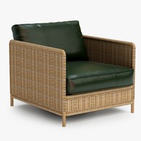 armchair chair wicker 3d obj