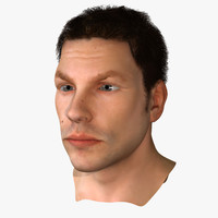 male face rigged 3d model