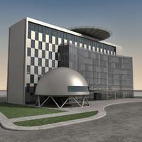 modern building 3d obj