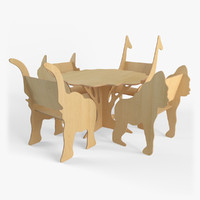 3d plywood furniture set model