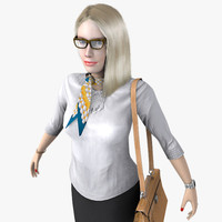 realistic blonde business woman 3d max