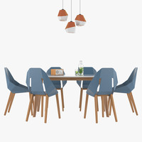 3d max dining table chair set
