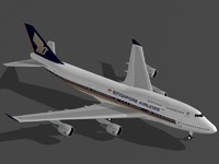 b 747-400 singapore airplane 3ds