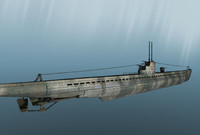 world war u-boat 3d model