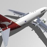 b 737-300 qantas 3ds