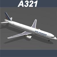 airbus a321 air france 3d model