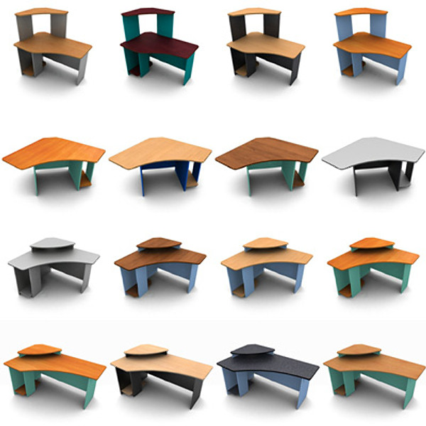 New Colorful Office Furniture Set 3D Model OBJ  CGTradercom
