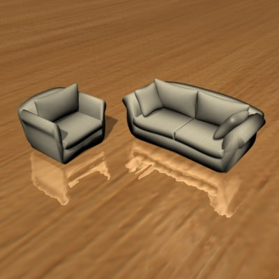 3d model designed chair loveseat sofa furniture