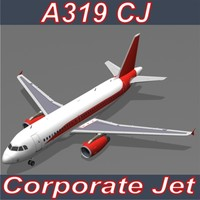 3d corporate jet airbus a319 model