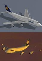3d b 747-400 lufthansa model