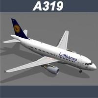 airbus a319 lufthansa 3d model