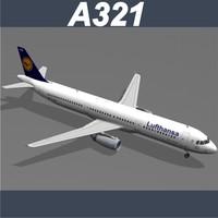 airbus a321 lufthansa 3d model