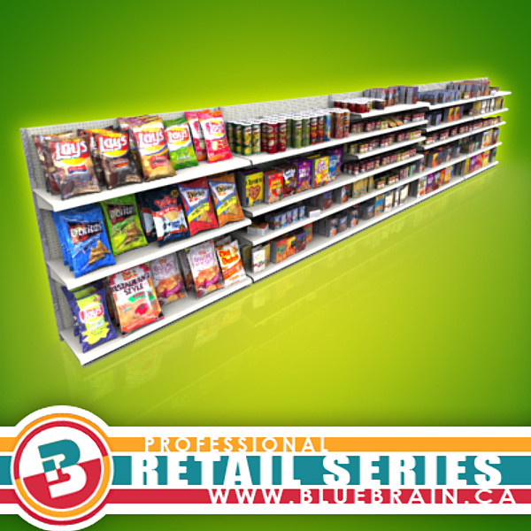 store shelves products 3d model - Retail - Grocery Shelves... by BlueBrain